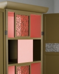 Cabinet with single sliding door over each shelf behind hinged doors