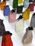 Colorful paper bags made from metal