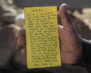 Handwritten note to Harry Williams, Bishop Paiute tribal elder