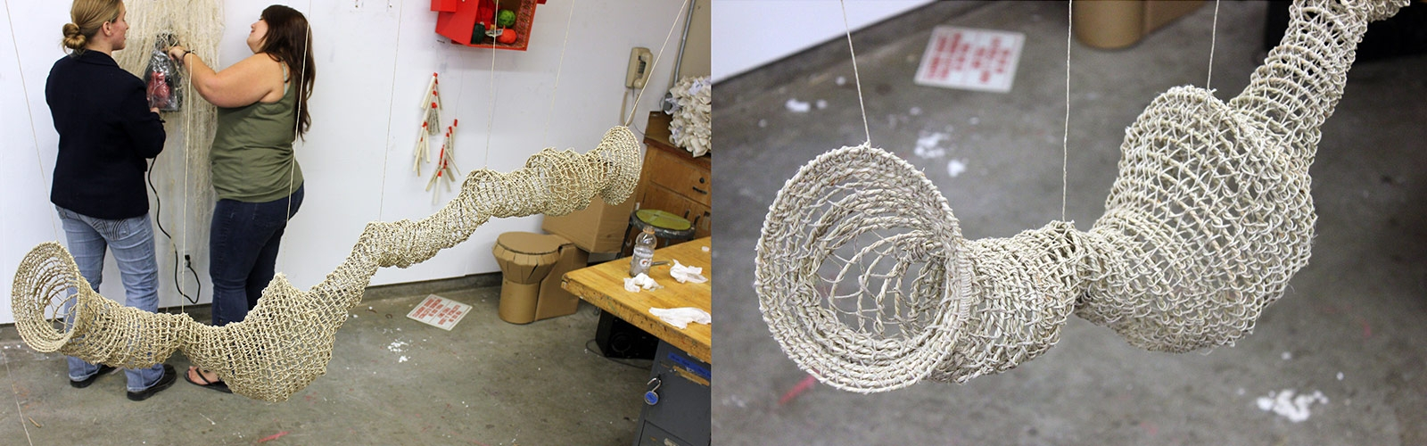 Hanging sculpture of round hoops woven with rope