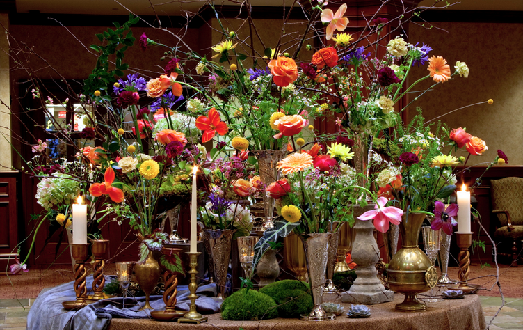 Flowers in vases on a table