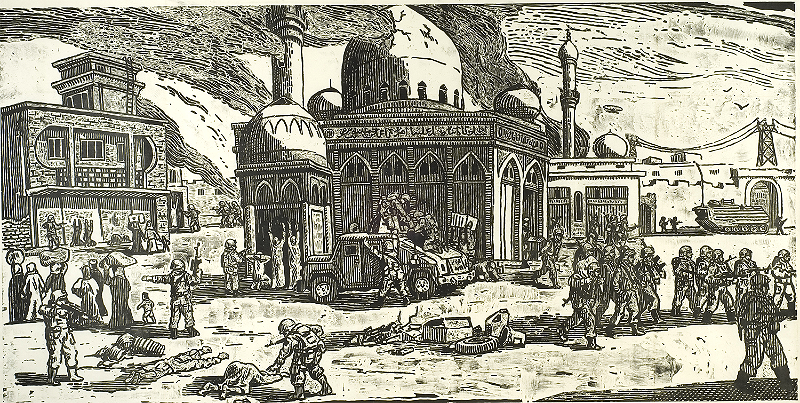 Wood block print showing war