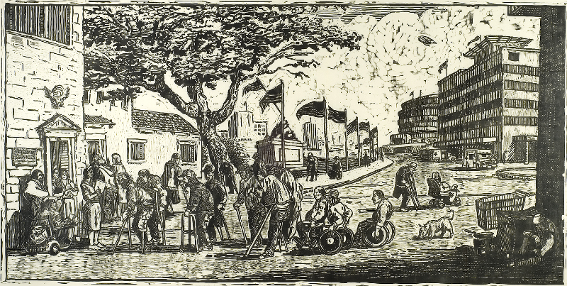 woodcut print of homeless people gathering