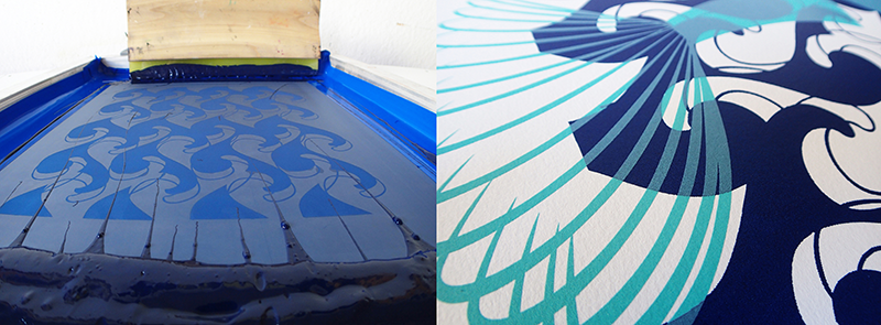 Screenprinting Process in Blue ink