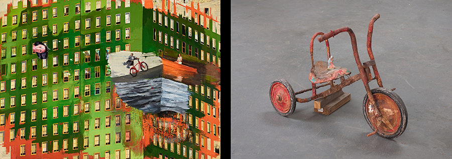 painting of green building and photo of rusty trike