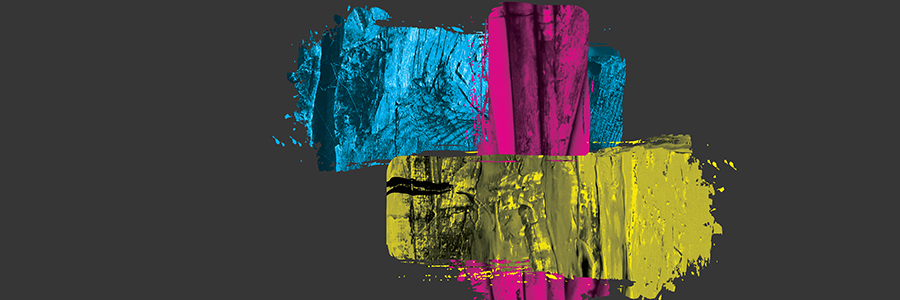 Cyan, Magenta, and Yellow paint strokes over grey background