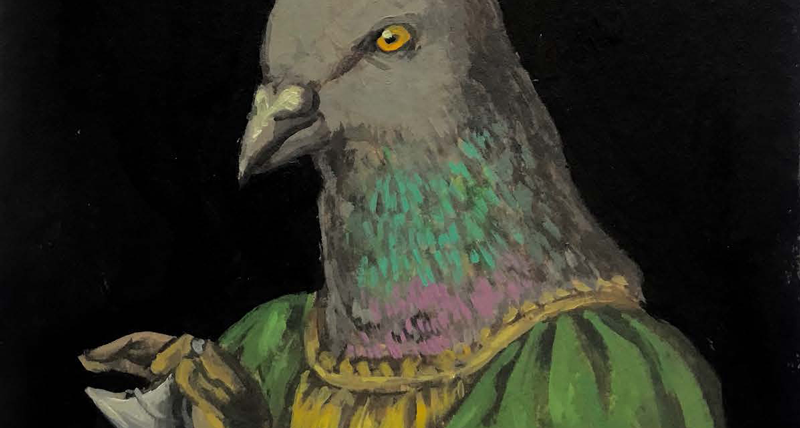 Pigeon in Renaissance dress