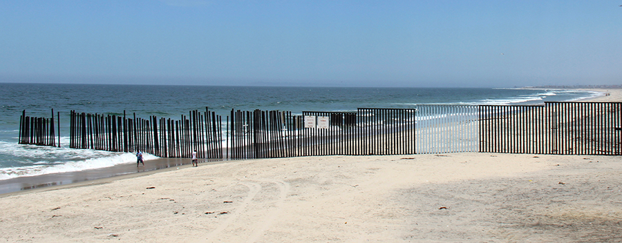 Tijuana border wall at the ocean's edge