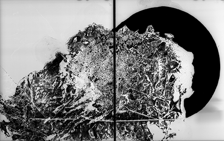 Abstract diptych in black and white