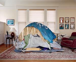 tent made of tarps in room
