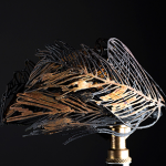 Metal sculpture of feathers