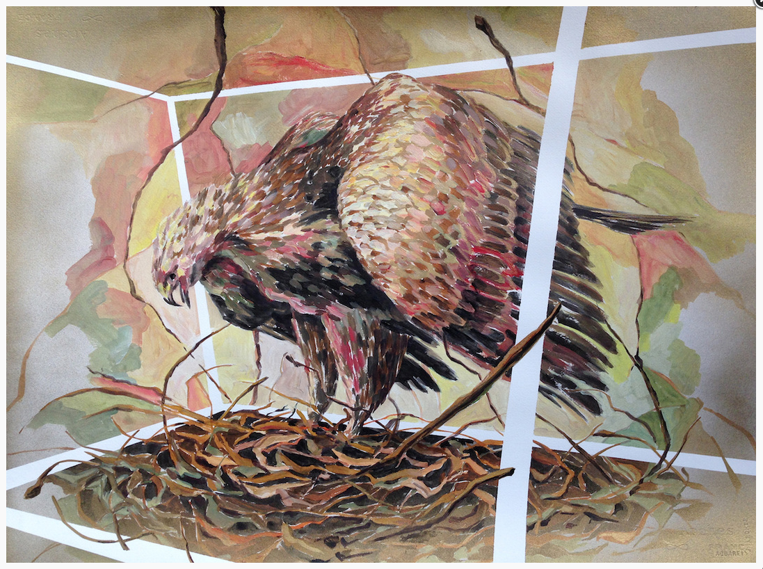 Painting of large bird standing on a nest inside of a clear box