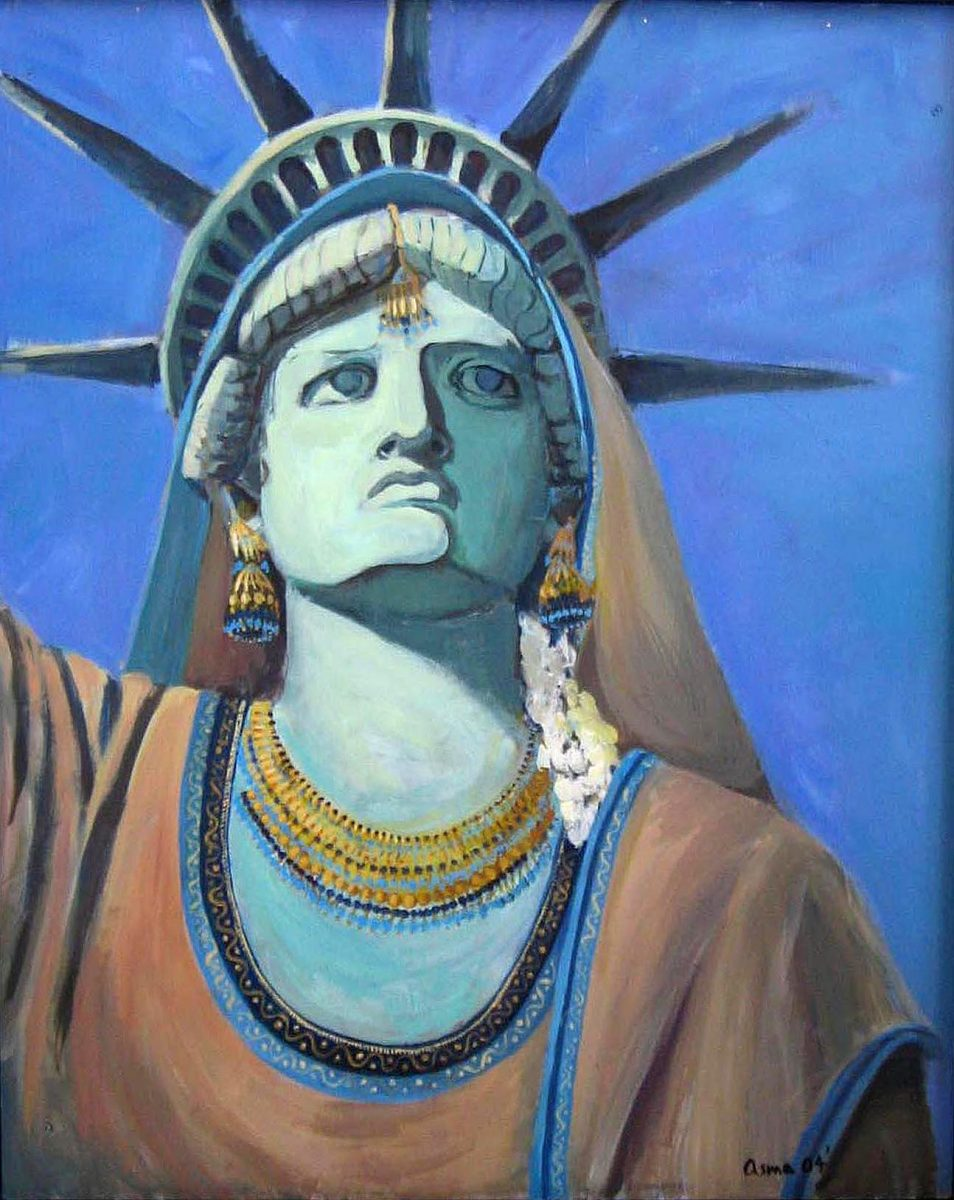 Statue of Liberty dressed in Middle Eastern clothes and jewelry