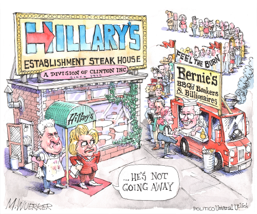 Matt Wuerker Illustration of Hillary Clinton standing at restaurant