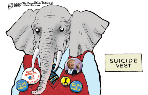 Political cartoon showing elephant with Donald Trump buttons on vest